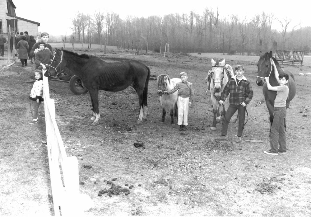 Old black and white photo of people with horses